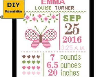 Butterfly Birth Announcement Butterfly Birth Record Cross Stitch Birth Sampler Cross Stitch Baby Girl sampler Pink DIY Pattern Cross Stitch