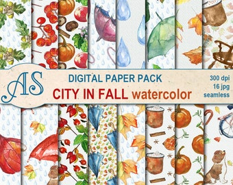 Digital Watercolor City in fall Seamless Paper Pack, 16 printable Digital Scrapbooking papers, Autumn Decoupage, Instant Download, set 38