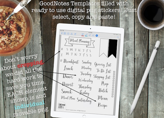 Digital meal planning goodnotes template pdf files and png forumfinder Images