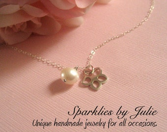 Blossom Necklace - Sterling silver flower charm & custom gemstone birthstone, Dainty, Child Size, ADJUSTABLE necklace