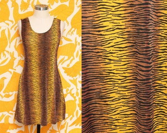 Animal Print Dress // Tiger Print Dress // 90s Mini Yellow Brown Neon Striped Exotic Club Kid Sleeveless Tank Dress Size Small