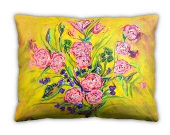 Item #52 Pink Roses Pillow (12x16)