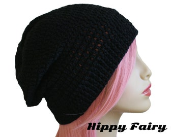 Women's Black Beanie Hat, Teen Girl Slouchy Unique Handmade Hat