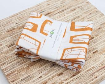 Large Cloth Napkins - Set of 4 - (N1302) - Orange Brown Modern Reusable Fabric Napkins
