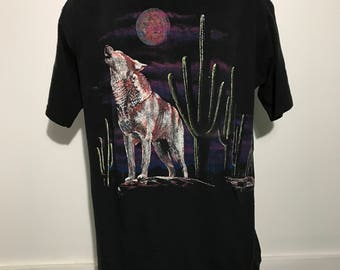 Vintage Wolf / Wolves Southwest Cactus All Over Print Tee XL