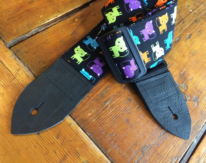 Cat guitar strap // cute multicoloured cats on a black background // pastel punk birthday gift // suits acoustic, electric, bass guitar