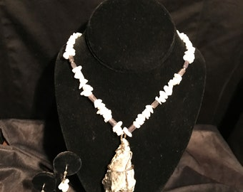White and Gray Shell Necklace
