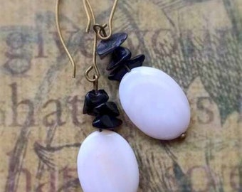 Mother of Pearl Oval Earrings with small Obsidian Chips Beads on Antique Brass Earwires