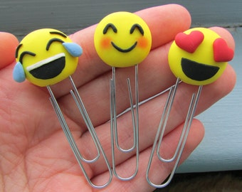 Emoji Polymer Clay Paperclip Bookmark/ Planner Bookmark