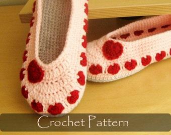 CROCHET PATTERN - Valentine Adult Slippers Crochet Pattern House Slippers Womens Warm Winter Shoe Pattern Adult Sizes PDF - P0040