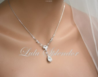 Simple Wedding Necklace for Bride Crystal Teardrop Necklace Delicate Bridal Necklace Wedding Jewelry, Swarovski Crystal Pendant Necklace