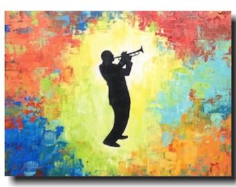Art  Large Abstract painting  -  original 18 X 24 -  JMJartstudio- Jazz man -Wall art-  Gift for him