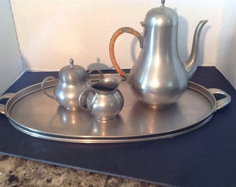 Pewter Tea pot Coffee Pot With Sugar and Creamer    CK Holland  with Tray