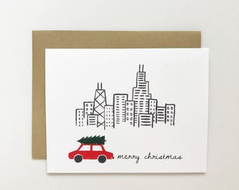 Chicago Skyline - Holiday Card, Christmas Card
