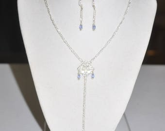 Silver Filigree and Blue Crystal Y Necklace and Earrings Set #060417 One Of A Kind