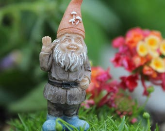 Fairy Garden Itty Bitty Billy The Gnome   Miniature Gnome With Stake,  Miniatures, Terrarium