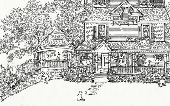 Coloriage adulte maison des chats instant download - Dessin a colorier pour adulte ...