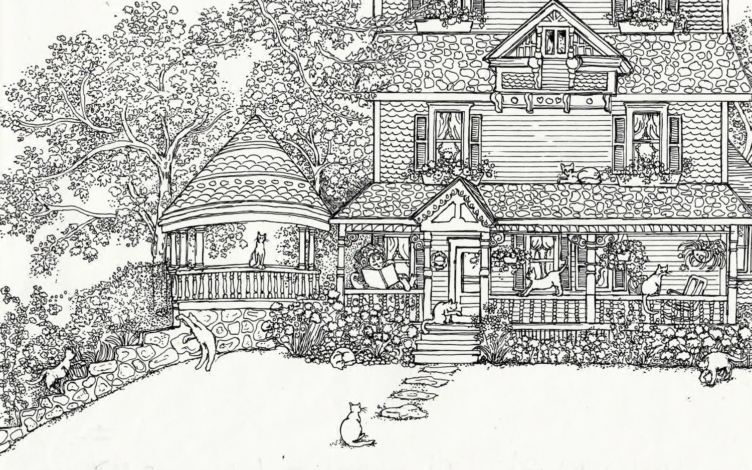 Adult Coloring Page House Of Cats Instant