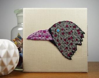 Carrion Crow Birdseeker Wall Art. Hand Embroidery.