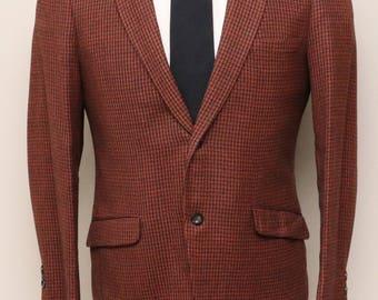Vintage 1960s mens rust and black check wool blazer/ Hughes Hatcher Suffrin