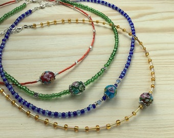 Bohemian Full Glass Bead and Green Flower Lampwork Centre Bead Necklace