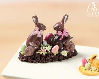 MTO-Chocolate Easter Rabbit Family Display (B) - Miniature Food in 12th Scale for Dollhouse