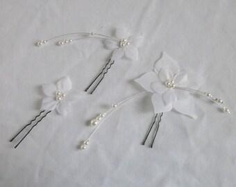 Pins pins beads white silk flower bridal hair accessories
