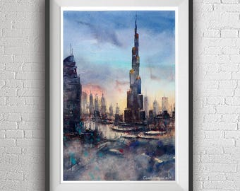 Dubai watercolor painting art print