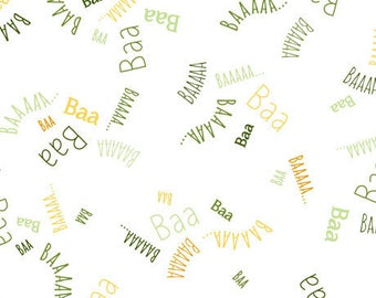 Children's Fabric, Sheeps and Peeps White Multi Words Cotton 44 inches wide