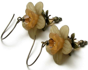 Maple Walnut Tan Flower Swarovski Crystal Antique Brass French Hoop Earrings, Nature Inspired Woodland Jewelry, Neutral Tones, Fall Fashions