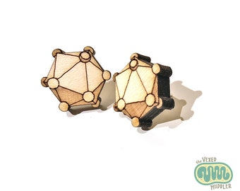 Icosahedral virus earrings, laser-cut wood jewellery for virologists and doctors