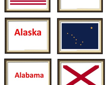 A6 Flash Cards. 103 Flashcards. Flags of the 50 US States. USA Flags Flash Cards. Waterproof/ wipe Clean. Large baby learning cards.
