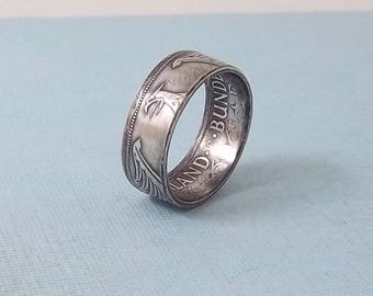 Unique Gift, Silver coin ring made from a 1969 German 5 Mark  62.5% fine silver jewelry size 10