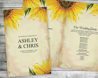 DIY Wedding Program - Editable MS Word Template, Floral Sunflower Print Your Own, Printable Order of Service, Yellow, Gold, Digital Prints