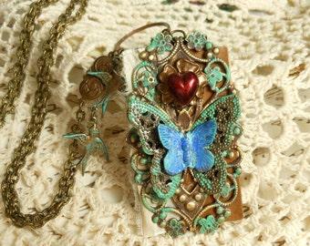 Secret Garden Pendant,Butterfly Jewelry,Long Boho Necklace,Romantic Heart Jewelry