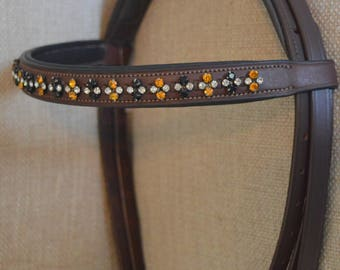 "15.5"" Full Browband for Bridle,  Mustard & Black Crystals"