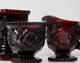 Vintage Avon Ruby Red Glass Creamer, Sugar and Compote 1876 Cape Cod Collection