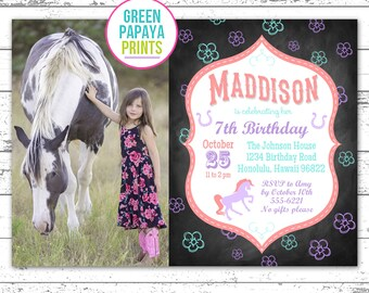 Girl Horse Birthday Invitation - Horse Invitation - Horse Birthday Party - Horse Birthday Invite - Printable - Pink Purple