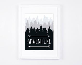 Adventure Art Printable, Arrows Black and White Art 8x10, Cabin Decor, Scandinavian Decor, Rustic Decor, Monochrome Woodland Art Prints