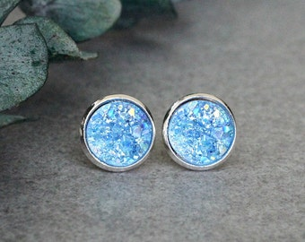 Light Blue Stud Earrings, Blue Stud Earrings, Light Blue Earrings, Light Blue Druzy Studs, Blue Post Earring, Pale Blue Druzy Earrings