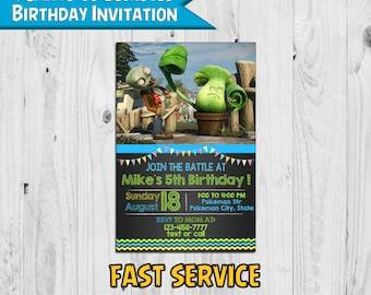 Plants vs Zombies Birthday Invitation Inspired - Printable - Digital - Personalized