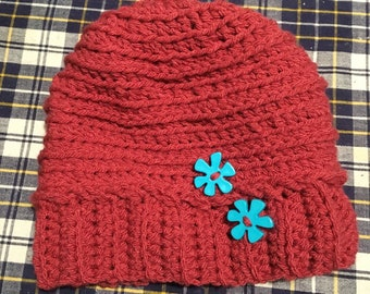 Hand crocheted pink slouchy beanie
