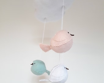 Modern peach and mint baby mobile - cloud and birds nursery decor.