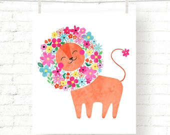 Sweet - Floral - Lion - Jungle - Baby - Nursery - Kids - Watercolor - Art Print - Wall Art