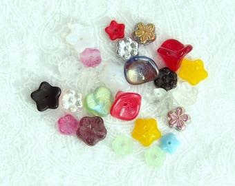 Assortment Czech Glass Flower Beads Mixed Lot Glass Flower Beads