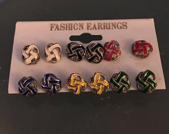 Six Pairs of knotted stud earrings