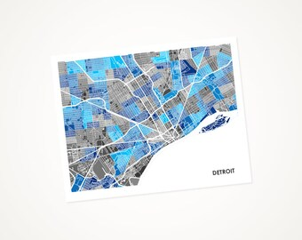 Detroit Map Print.  Choose the Colors and Size.  Michigan Art Poster.