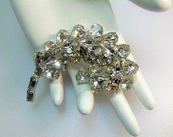 Elegant Sparkling Clear Prong Set Pear Shape and Baguette Rhinestones Silver Tone Stylized Plume or Leaf Pin Brooch