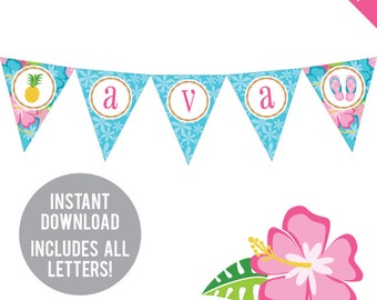 INSTANT DOWNLOAD Luau Theme Party - DIY printable pennant banner - Includes all letters, plus ages 1-18