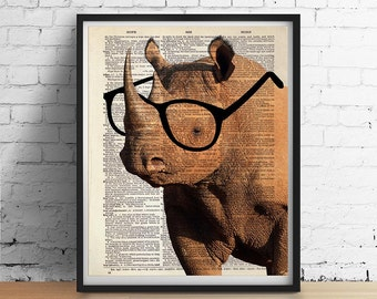 Smart RHINO Wearing Glasses Print, African Safari Animals Illustration, Dictionary Art Book Page Poster, Wall Art Home Decor